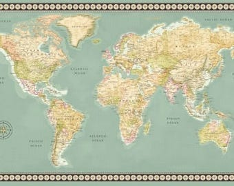 World map fabric etsy meridian from windham fabrics 24 x 44 panel world map gumiabroncs Gallery