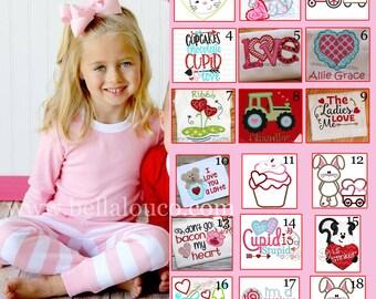 Valentine Pajamas, Children Pajamas, Applique