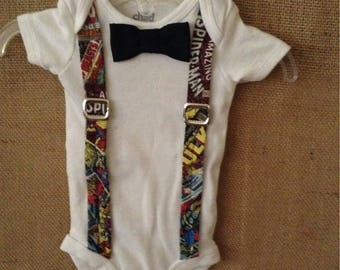 Marvel comics suspender onesie