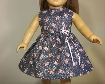 18 inch Doll Clothes Blue Patriotic Glittery Flag Print Dress fits American Girl Doll Clothes