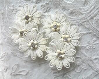Vintage Soft Plastic & Rhinestone Earrings ~ White ~ Clip On