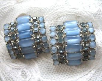 Vintage Rhinestone Earrings ~ Clip On ~ Blue Moonglow Rhinestones
