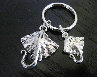 Mama & Baby Manta Rays Key Ring