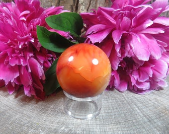 Carnelian Crystal Ball, Carnelian Agate Geode Ball, Agate Crystal Sphere, Carnelian Crystal, Crystal Sphere, Carnelian Gemstone Sphere 200g
