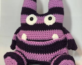 Crochet Candy Monster, amigurumi, amigurumi monster, purple, plush, stuffed animal, toy