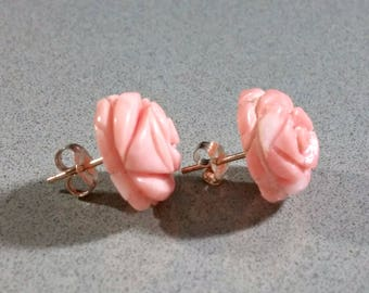 Yellow Gold Vintage Angel Skin Coral Earrings 14k Posts 14mm Coral Rosettes Hand Carved Roses Pink Peach Salmon Colored Lovely Matching Set