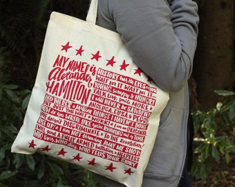 Hamilton Tote Bag | Alexander Hamilton Quote Bag | Broadway Musical Theater Lyrics Tote Bag