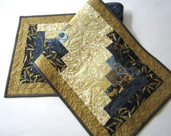 Blue Table Runner, Quilted Table Runner,  Handmade Table Runner, Asian Theme Table Runner, Table Runners, Table Runner with Gold Metallic