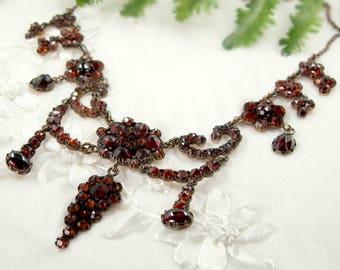 Gorgeous Vintage garnet festoon necklace in Victorian style // ГРАНАТ CX5RBX#PK