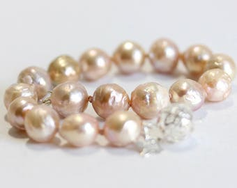 Large Blush Natural Pearl Bracelet, Pink, Natural Pearl Bracelet, Sterling Silver Filigree Clasp, Hand Knotted, Average Wrist