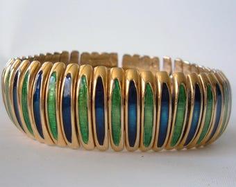 Vintage Boucher Enamel Link Bracelet Blue Green Gold Wide Expansion Rare 60s