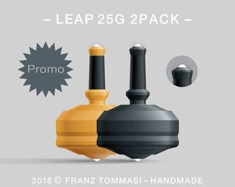 LEAP 25G 2PACK Yellow-Black – Value-priced set of precision handmade polymer spin tops with dual ceramic tip and rubber grip