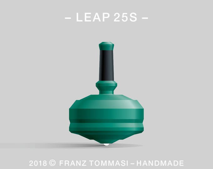 LEAP 25S Green – Precision handmade polymer spin top with ceramic tip and rubber grip