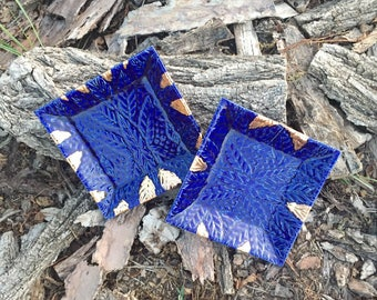 Cobalt Blue and Gold Square Dessert or Salad Plate Set of Two Handmade Pottery by Daisy Friesen
