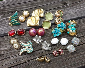 Vintage Clip On Earrings, Collection Lot of 16 Pairs, Wearable, Altered Arts Assemblage