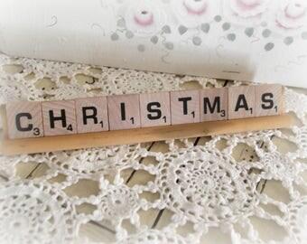 Christmas Sign, Vintage Scrabble Letter Sign,  Rustic Christmas, Farmhouse Decor, Hostess Gift