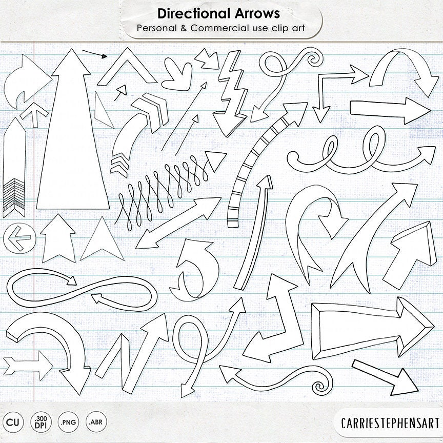 Drawing Lines With Arrows In Photo : Arrow doodle clipart hand drawn arrows line art black