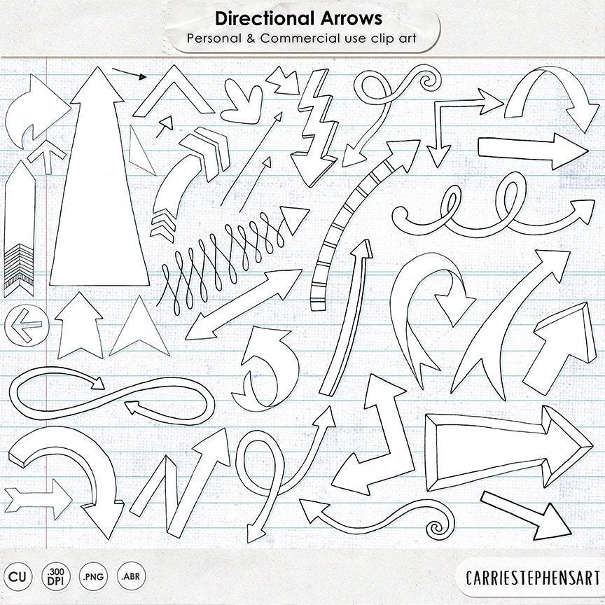 Line Art Design Studio : Arrow doodle clipart hand drawn arrows line art black