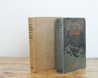 Vintage Zane Grey Book Western Pair of Books Set of 2 Western Fiction Decorative Display Early 1900s