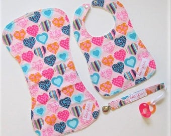 Gift for baby girl - Colorful hearts - Handmade bib - burp cloth - pacifier holder clip personalized with name embroidered - baby shower