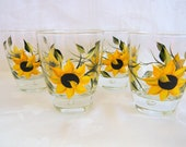 Sunflowers, Sunflower glasses, juice glasses, beverage glasses, cocktail glasses, painted sunflower glasses, drinking glasses