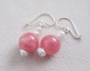 Rhodochrosite and fresh water pearls earrings