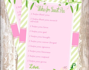 Sweet Pea -Wishes for Baby cards -baby shower-new  baby - baby sprinkle