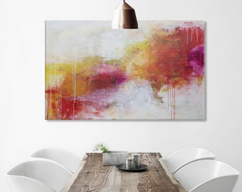 Large Abstract Painting horizontal landscape painting Red yellow green floral painting  - ElenasArt