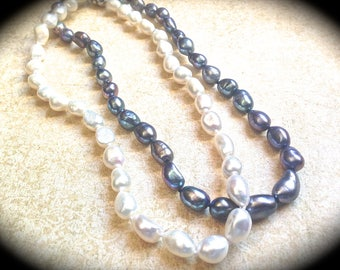 Wedding Flower Girl Pearl Necklace -Bridesmaid Maid of Honor Wedding Necklace- Gray Pearls- Baroque Pearls Choker Classic Jewelry