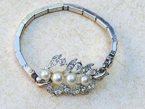Rhinestone pearl leaf  Watchband Bracelet- Leaf  Bracelet- Assemblage Handmade Bracelet- Stretch band