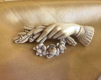 Victorian Celluloid Hand Brooch with Rose