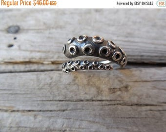 ON SALE Octopus tentacle ring in sterling silver