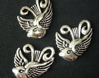 BULK (pkg/10) Large Swallow Charms Pendants - tattoo, rockabilly - for pendants, jewelry making, crafts, scrapbooking