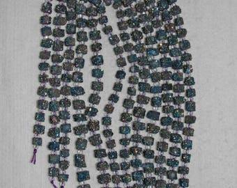 Quartz, Moroccan Quartz, Quartz With Druzy, Titanium Druzy Coat, Cube Beads, Natural Quartz, Semi Precious, 7-8 mm, 20 beads, AdrianasBeads
