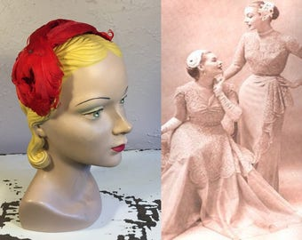 Twist & Turned About Her Head - Vintage 1950s Lipstick Red Curled Feather Half Hat Fascinator Hat