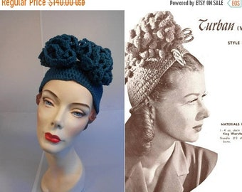 Anniversary Sale 35% Off The Bombadier Song - Vintage WW2 1940s Handmade Teal Blue Wool Yarn Turban Hat