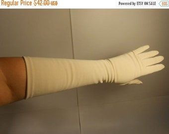 Anniversary Sale 35% Off Beige is Not So Boring - Vintage 1950s Warm Beige Elbow Length Long Gloves - 6 1/2