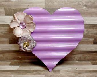 Purple Metal Heart Wall Art - Heart Wall Hanging - Shabby Chic Heart - Boho decor - Heart Decor