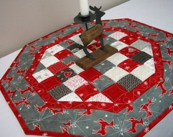 Christmas Table Topper Quilted Runner Octagonal Reindeer Snowflakes Quilt Red Silvery Gray Quiltsy Handmade FREE U.S. Shipping