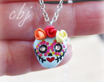 Dia de los muertos, Sugar Skull Necklace, Hand painted Sugar Skull Necklace, Handmade Sugar Skull Polymer clay
