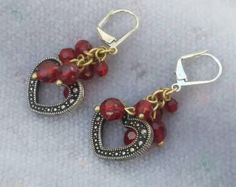 Red Crystal Valentine Leverback Earrings