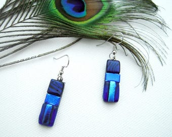 Blue and purple fused glass earrings, Dichroic glass earrings, silver earrings, blue earrings, glass fusion