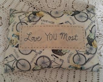 Prim Stitchery Love You Most Pillow ~OFG