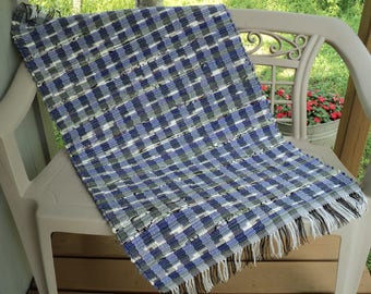 Purple and Gray Hand Woven Rag Rug