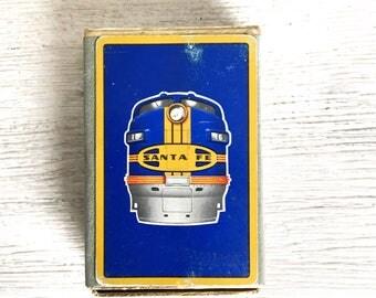 Art Deco Santa Fe Railroad Train Vintage Playing Cards Original Box Congress 606
