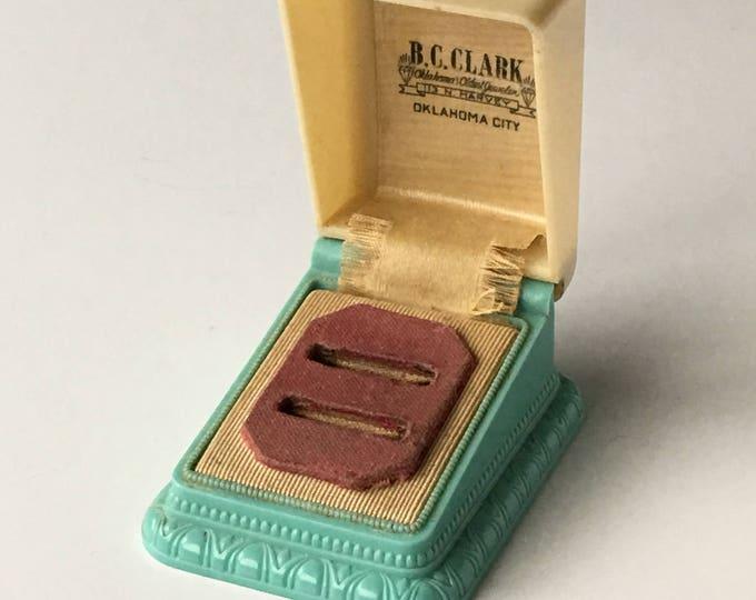 Vintage Ring Box Two Tone Aqua Blue & Cream Wedding Engagement Double Ringbox Jewelry Presentation