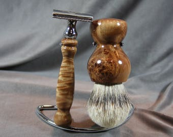 Maple Burl Wood Shaving Kit Razor and Brush Wedding Groom Gift Groomsmen Graduation Gift Father's Day Gift Wooden Razor