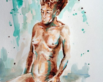 Original painting, watercolors nude art woman figure, poster comics art, home decor, figurative art