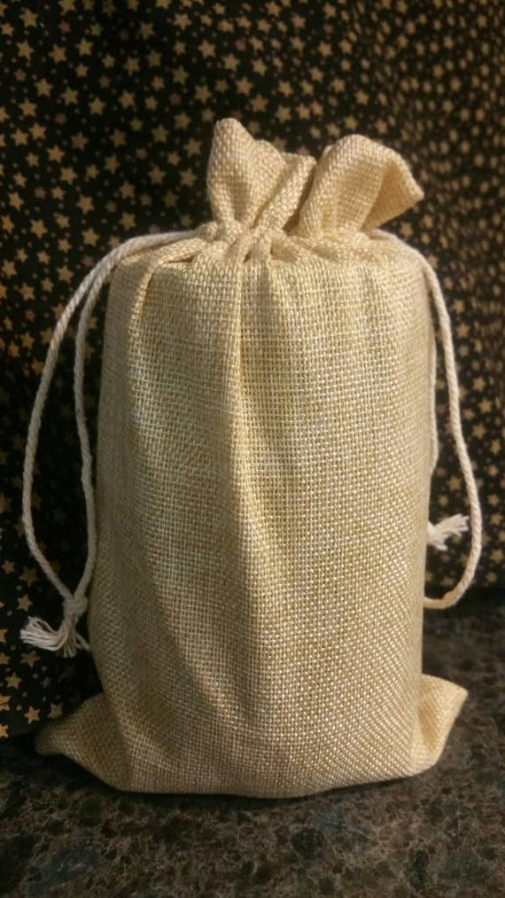 Burlap Gift Bag with Pull string Closure* 5 by 8 inches* Set of 6