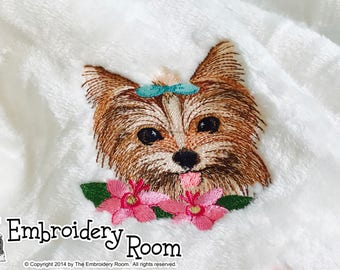 Yorkshire Terrier With Flowers-Dog Blanket
